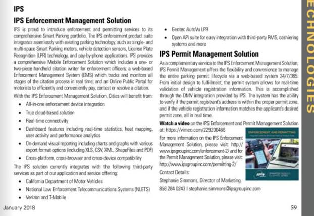 FEATURED in Parking Today: IPS Enforcement Management and Permit Management Solutions